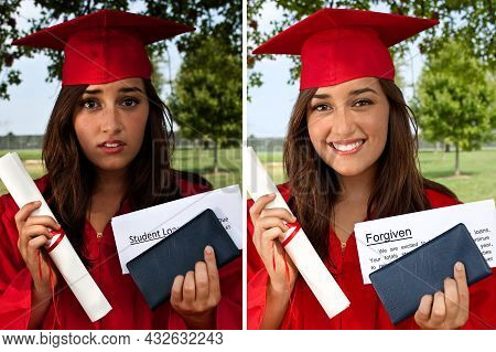 Before And After Of College Student With Tuition Debt And Then The Loan Being Forgiven Or Cancelled.