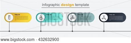 Set Line Molecule, Test Tube And Flask, Alcohol Or Spirit Burner And . Business Infographic Template