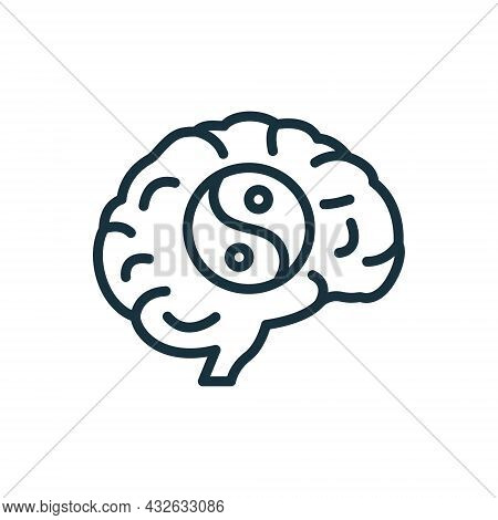 Mental Health Line Icon. Brain And Yin Yan Sign. Positive Mind Wellbeing Concept Linear Pictogram. H