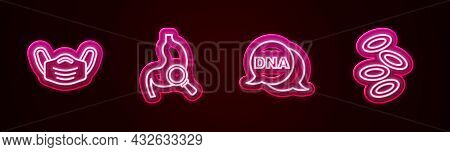Set Line Medical Protective Mask, Stomach With Magnifying Glass, Dna Symbol And Hemoglobin. Glowing