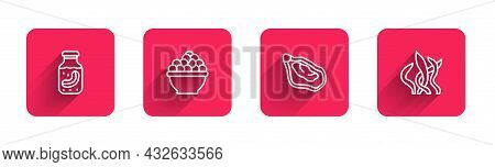 Set Line Sea Cucumber In Jar, Caviar, Mussel And Seaweed With Long Shadow. Red Square Button. Vector