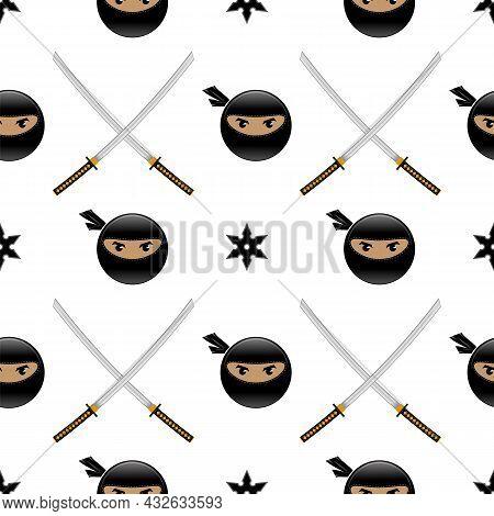 Set Of Ninja Star. Asian Traditional Katana Weapon. Shuriken Logo. Japan Ancient Sword. Seamless Pat