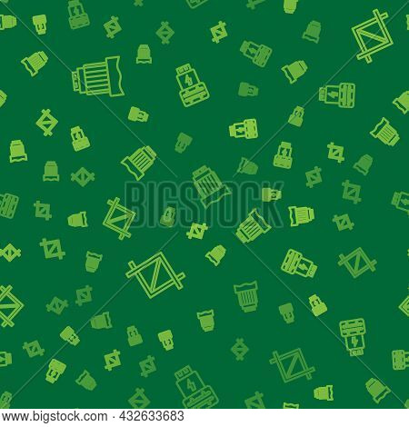 Set Line Camera Photo Lens, Picture Crop And Photo Camera Flash On Seamless Pattern. Vector