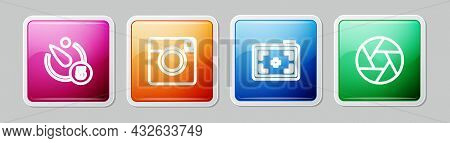 Set Line Camera Timer, Photo Camera, And Shutter. Colorful Square Button. Vector