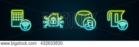 Set Line Air Humidifier, Smart Home, Voice Assistant And Electric Kettle. Glowing Neon Icon. Vector