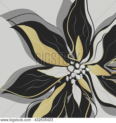 Modern Poinsettia Flower, In The Style Of One Line. Hand-drawn Abstract In A Minimalist Style. Golde
