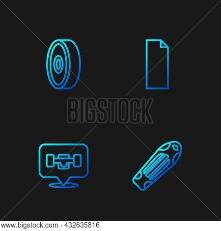 Set Line Skateboard Deck, Wheel, Ball Bearing And Grip Tape On Skateboard. Gradient Color Icons. Vec