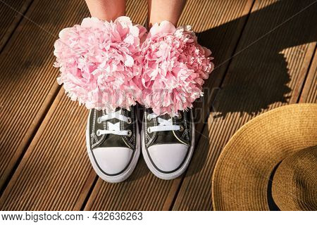 Natural Botanical Wedding Concept. Anonymous Shoes, Hat. Copyspace. Runner Love Still Life. Creativi