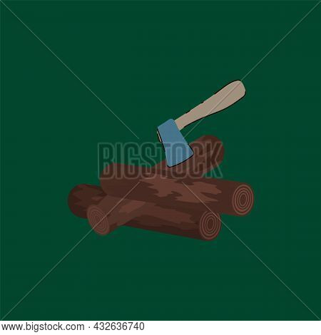 Firewood With An Axe For Camping. Cartoon Tree For Relaxing In The Forest. Camping With A Campfire A