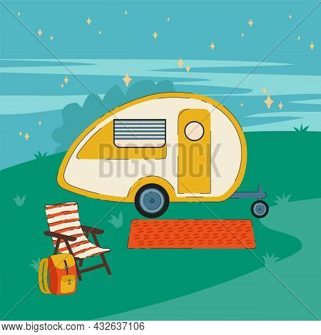 Night Illustration Of Campers Rv On Wheels. A Poster With A Road Trailer For A House. A Vehicle, Cam