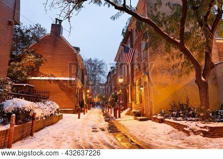 Philadelphia, Pennsylvania, USA at Elfreth's Alley in winter at twilight.