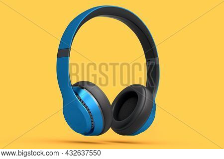 Gaming Headphones And Concept Of Music Equipment Isolated On Orange Background.