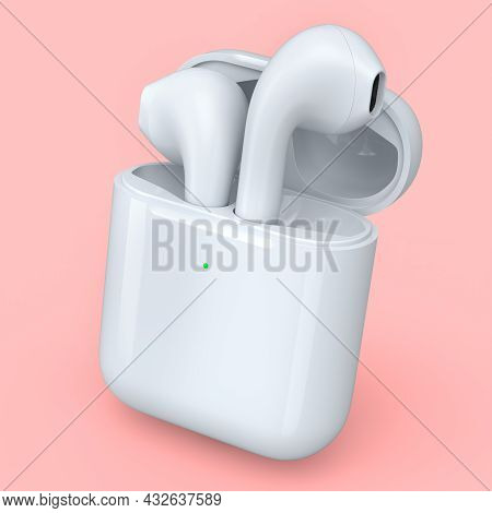 Wireless Bluetooth Headphones In White Case Isolated On Pink Background