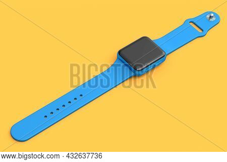 Stainless Blue Smart Watch Or Fitness Tracker Isolated On Orange Background.