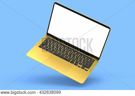 Realistic Aluminum Laptop With Empty White Screen Isolated On Blue Background.