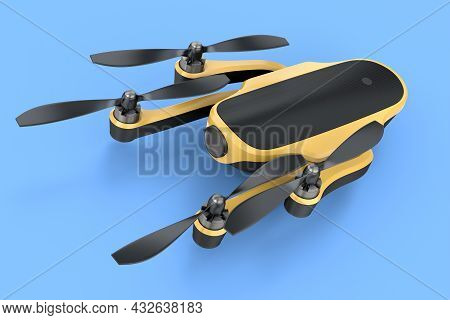 Flying Photo And Video Drone Or Quad Copter With Action Camera Isolated On Blue