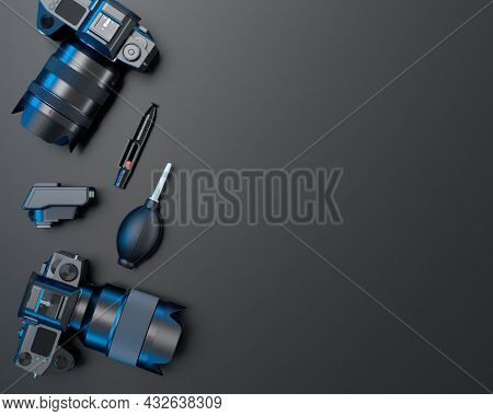 Top View Of Designer Workspace And Photography Gear On Black Table Background