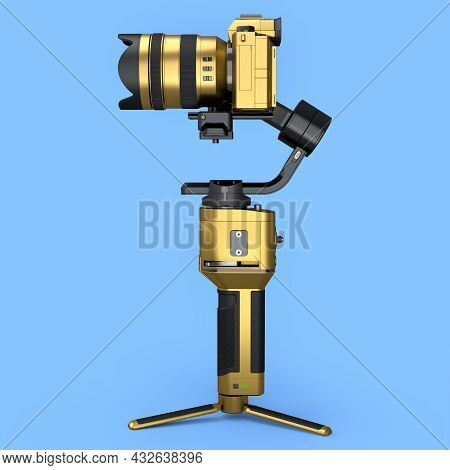 3-axis Gimbal Stabilization System With Gold Nonexistent Mirrorless Camera