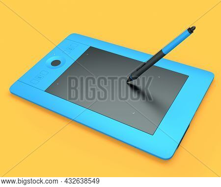 Graphic Tablet And Pen For Illustrators, Designers And Photographers On Orange