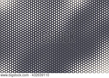 Halftone Hexagonal Pattern Wavy Texture Vector Abstract Geometric Technology Background. Retro Color