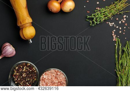Various Spices And Seasoning On Black Board. Board Mockup For Food Receipt, Menu Or Food Blog Concep