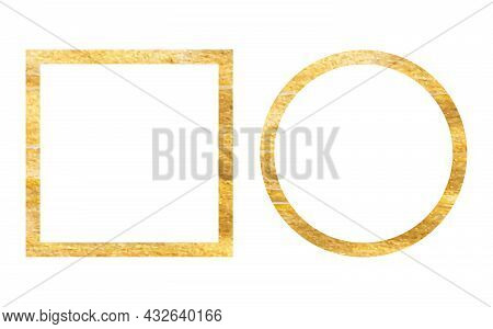 Squared And Round Golden Vintage Wooden Frame For Your Design. Vintage Cover. Place For Text. Vintag