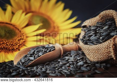 Wooden Scoop Of Sunflower Seeds, Canvas Bag Filled With Black Sunflower Seeds And Beautiful Yellow S
