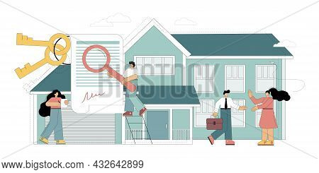 Real Estate Concept. House Search, Realtor Services. The Choice Of An Apartment, Housing. Rent Terms