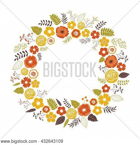 Beautiful Round Autumn Wreath Decorated With Yellow And Orange Flowers, Berries And Leaves. Vector F