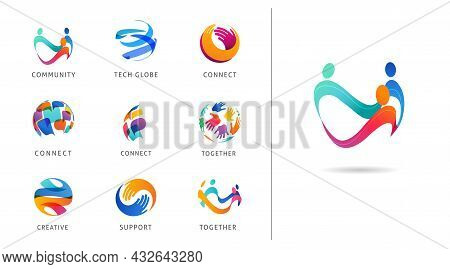 Logo Set, Creative, Technology, Biotechnology, Tech Icons Concept Design. Colorful Abstract Logos Of