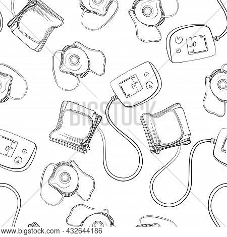 Blood Pressure Meters And Medical Respirator Seamless Vector Pattern. A Medical Device.