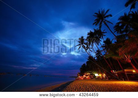 Tropical sandy beach at twilight, Panglao island, Philippines