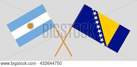 Crossed Flags Of Bosnia And Herzegovina And Argentina