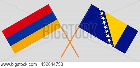 Crossed Flags Of Bosnia And Herzegovina And Armenia