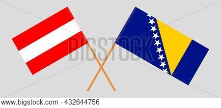 Crossed Flags Of Austria And Bosnia And Herzegovina