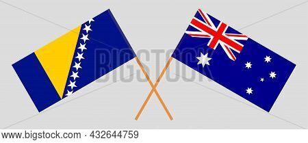 Crossed Flags Of Bosnia And Herzegovina And Australia