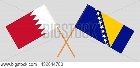 Crossed Flags Of Bahrain And Bosnia And Herzegovina