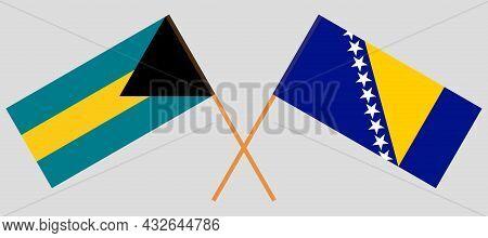 Crossed Flags Of Bosnia And Herzegovina And Bahamas
