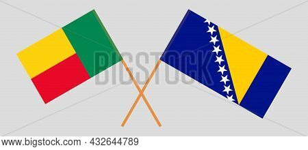 Crossed Flags Of Bosnia And Herzegovina And Benin