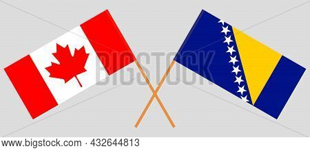 Crossed Flags Of Canada And Bosnia And Herzegovina