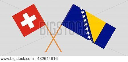 Crossed Flags Of Bosnia And Herzegovina And Switzerland