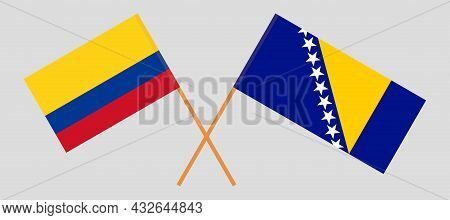 Crossed Flags Of Colombia And Bosnia And Herzegovina
