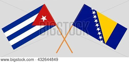 Crossed Flags Of Bosnia And Herzegovina And Cuba