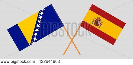 Crossed Flags Of Bosnia And Herzegovina And Spain