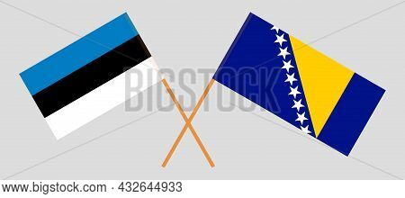 Crossed Flags Of Estonia And Bosnia And Herzegovina