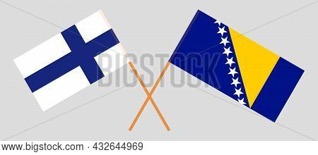 Crossed Flags Of Bosnia And Herzegovina And Finland