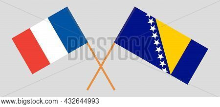 Crossed Flags Of Bosnia And Herzegovina And France