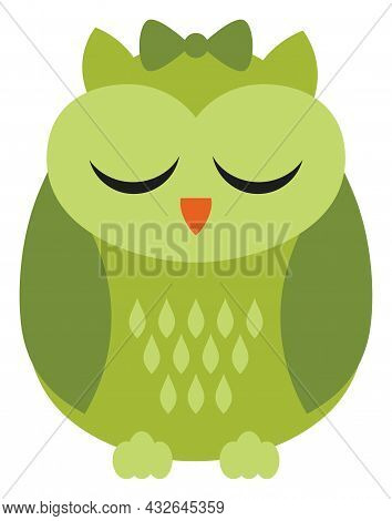 Cute Green St. Patrick Owl With Bow Sleeping. Vector St. Patrick. Owl Vector Illustration