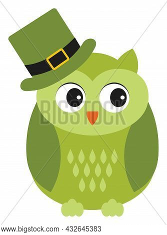 Cute Green Owl Wearing St. Patrick Hat. Vector St. Patrick. St. Patrick Owl Vector Illustration