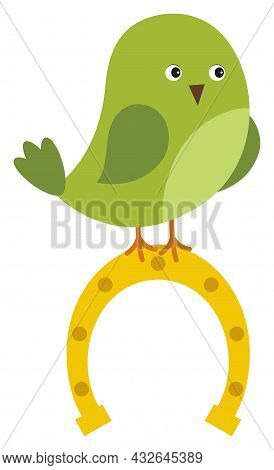 Cute Green St. Patrick Bird With Bow Sitting On The Top Of Horseshoe. Vector St. Patrick. Cute Bird